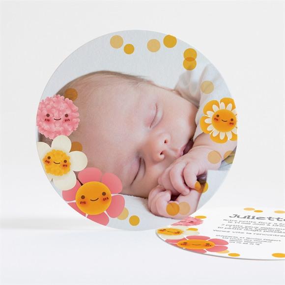Faire-part naissance Fleurs jaunes et douceur réf.N32145