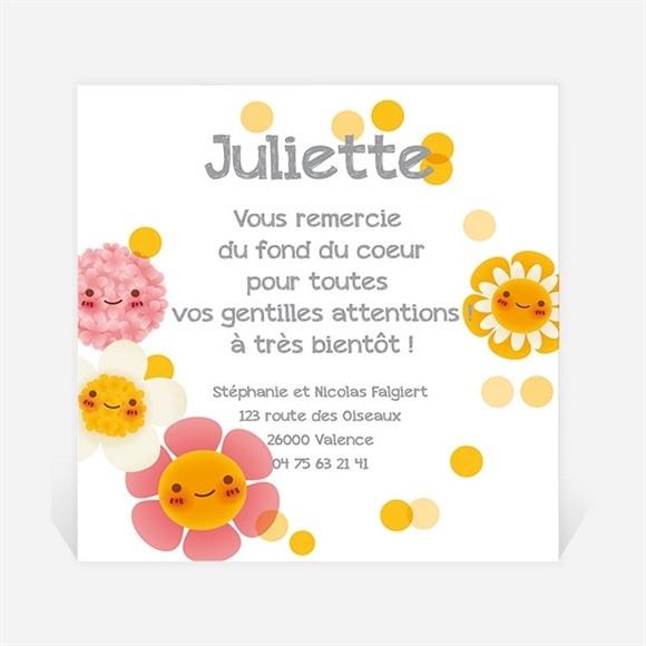 Remerciement naissance Fleurs jaunes et douceur réf.N300270