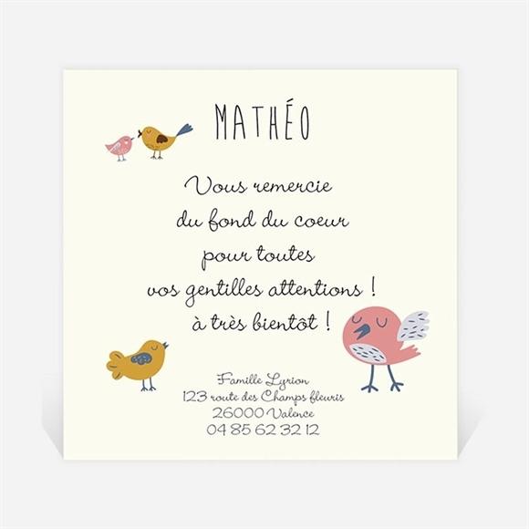 Remerciement naissance Petits oiseaux doux réf.N300272