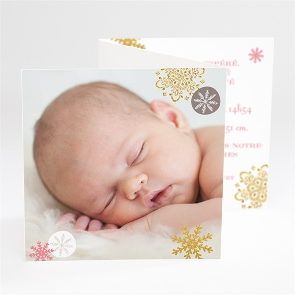Faire-part naissance Flocons et photos réf.N81023