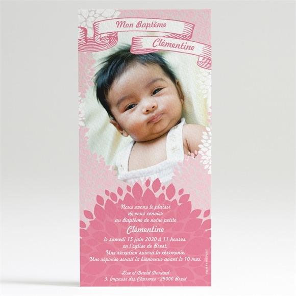 Faire-part de baptême Banderole de fleurs roses réf.N22018