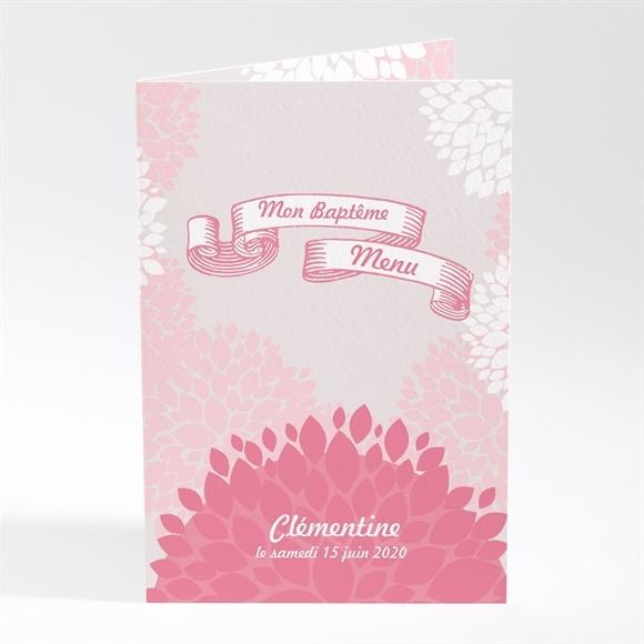 Menu baptême Banderole de fleurs roses réf.N401331