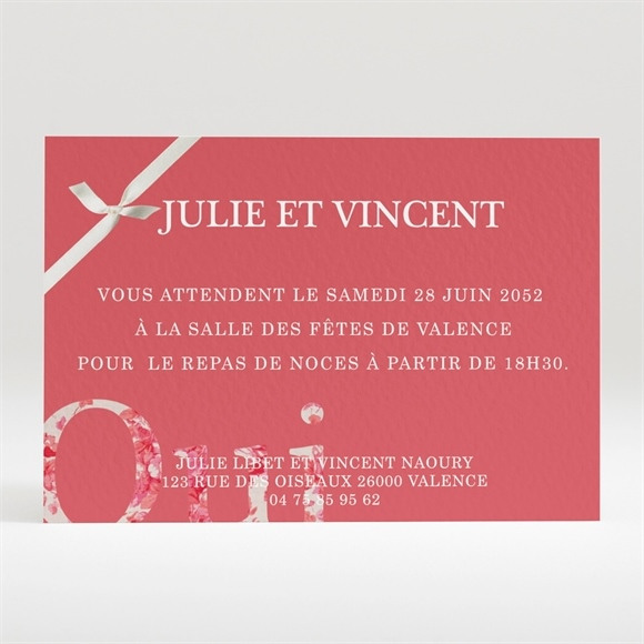 Carton d'invitation mariage Chic blanc et rouge réf.N120227