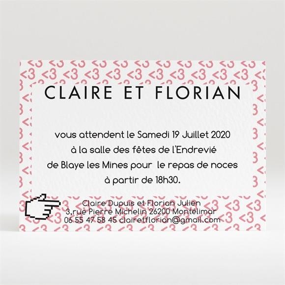 Carton d'invitation mariage Coeur et motifs rose réf.N120229