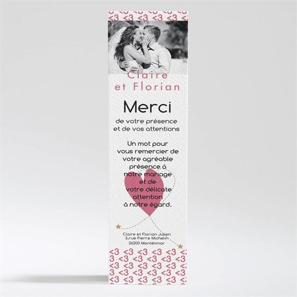 Remerciement mariage Coeur et motifs rose réf.N200275