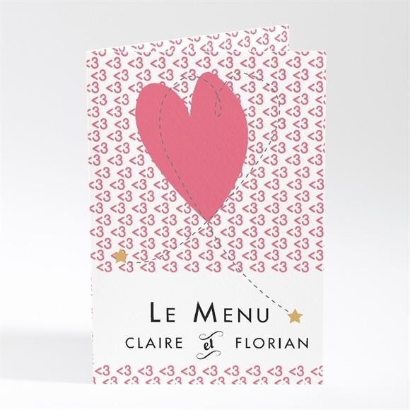 Menu mariage Coeur et motifs rose réf.N401350
