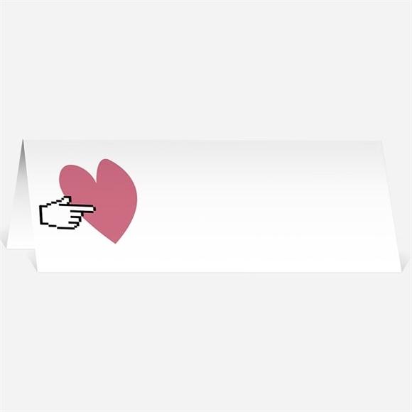 Marque-place mariage Coeur et motifs rose réf.N440299