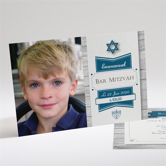 Faire-part bar mitzvah Evènement Etoile bleue réf.N14141