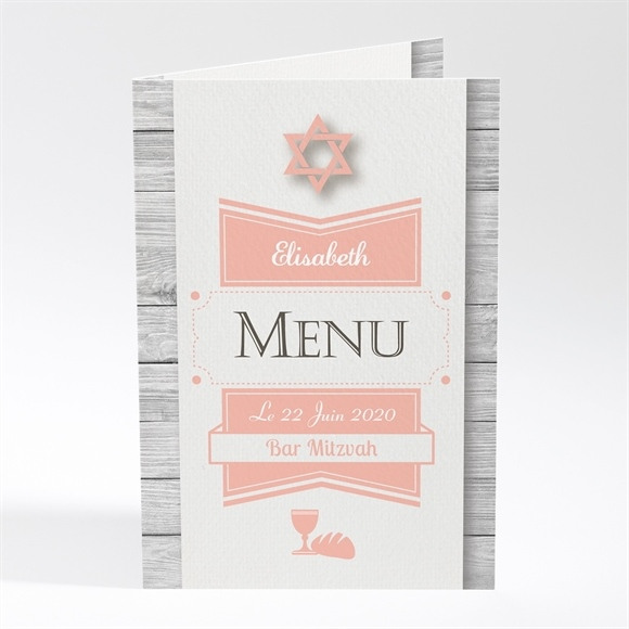 Menu bar mitzvah Constellation rose réf.N401356