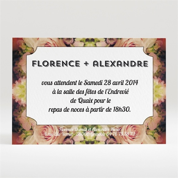 Carton d'invitation mariage inscriptions originales réf.N120239