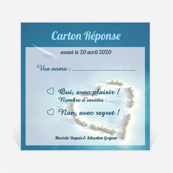 Carton réponse mariage Eaux turquoises réf.N300295