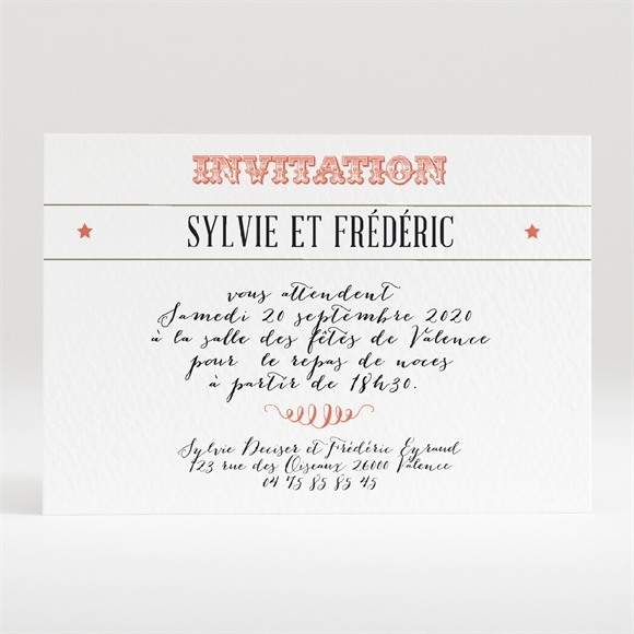 Carton d'invitation mariage Vintage & original réf.N120247