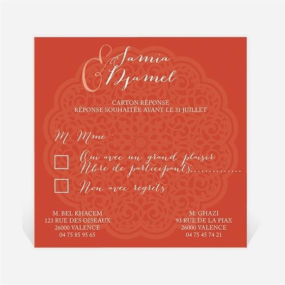 Carton réponse mariage Medaillon couleurs d'automne réf.N300306