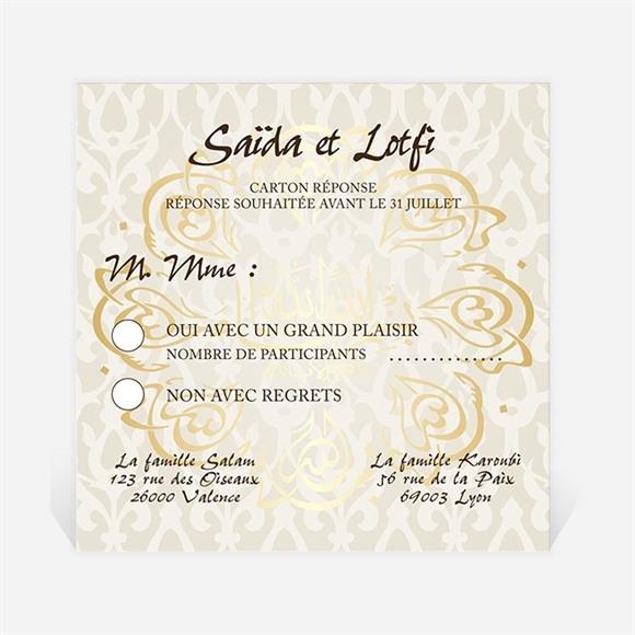 Carton réponse mariage Gris et or réf.N300307