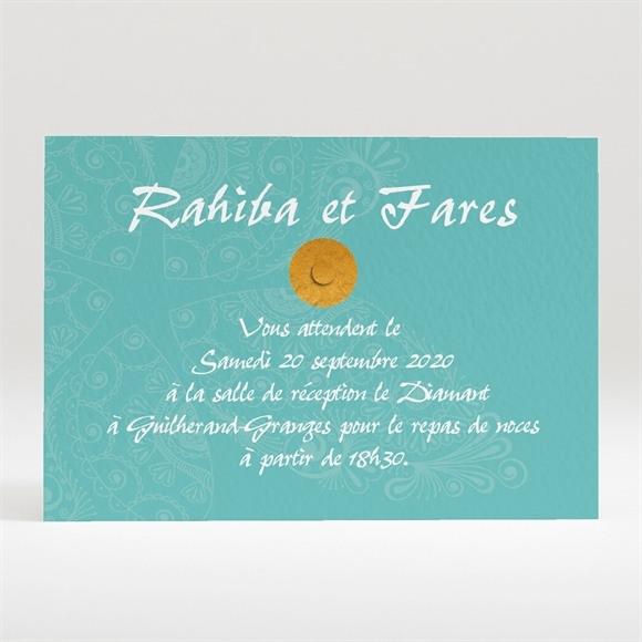 Carton d'invitation mariage oriental vert réf.N120250