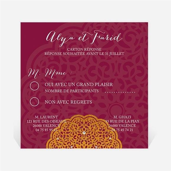 Carton réponse mariage Motifs et diamants réf.N300309