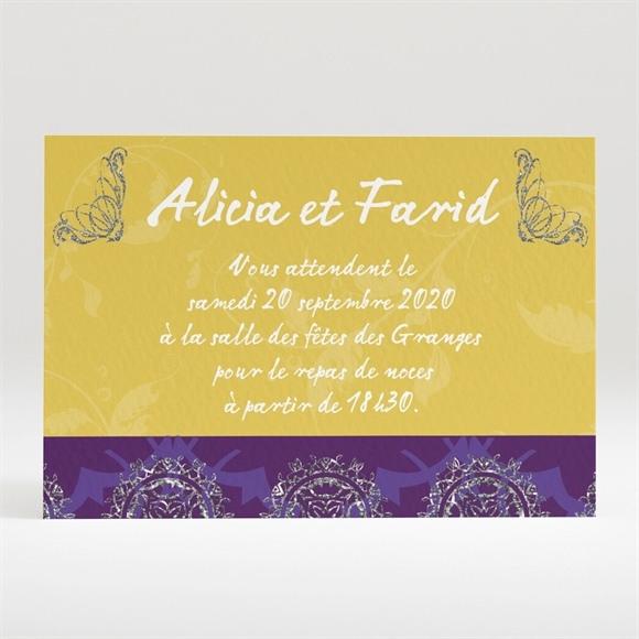 Carton d'invitation mariage Medaillon jaune et violet réf.N120252