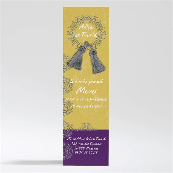 Remerciement mariage Medaillon jaune et violet réf.N200288