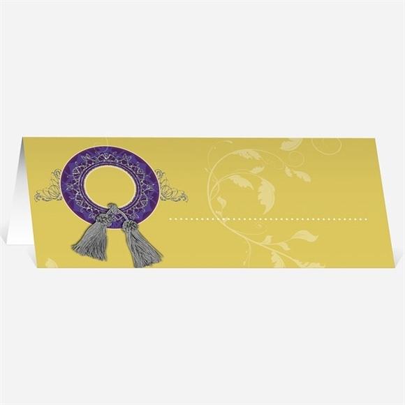 Marque-place mariage Medaillon jaune et violet réf.N440326