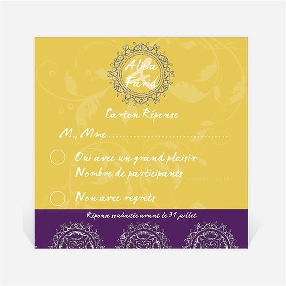 Carton réponse mariage Medaillon jaune et violet réf.N300310