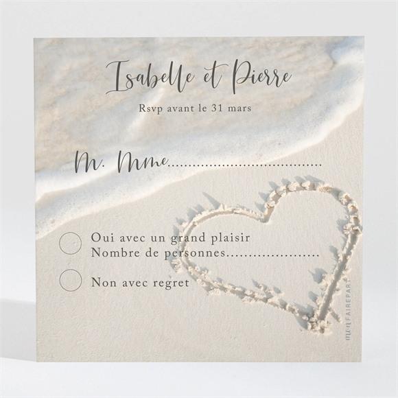 Carton réponse mariage Dans le Sable réf.N300311