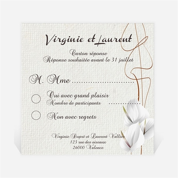 Carton réponse mariage Notre Parchemin réf.N300312