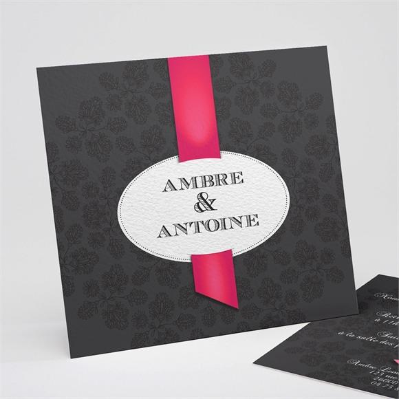 Faire-part mariage vintage noir et rouge réf.N31183