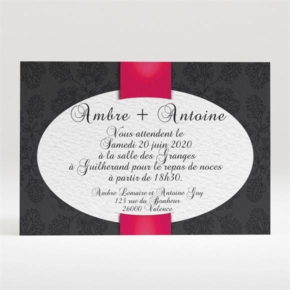 Carton d'invitation mariage vintage noir et rouge réf.N120256
