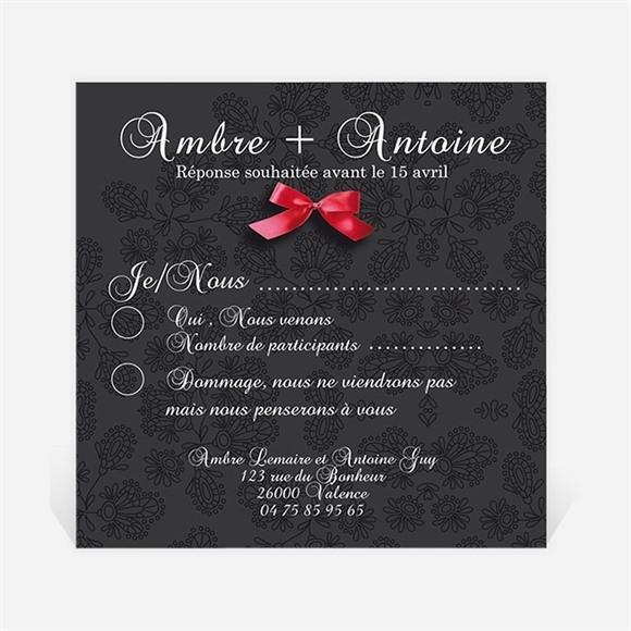 Carton réponse mariage vintage noir et rouge réf.N300314