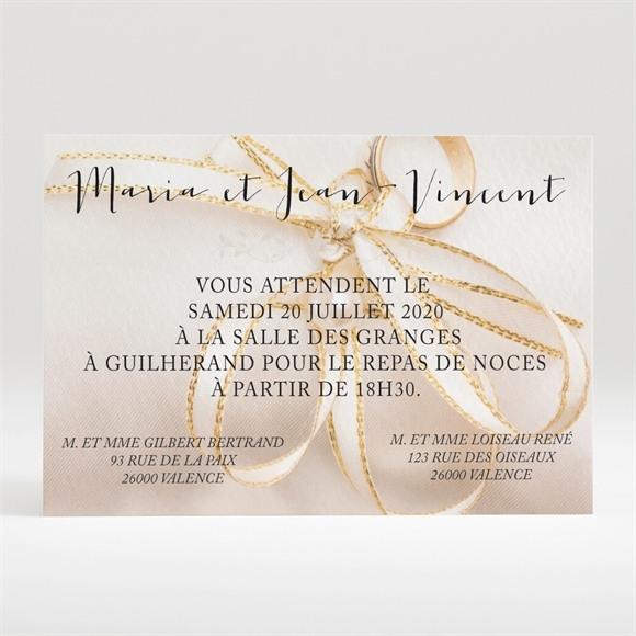 Carton d'invitation mariage Soie et nacré réf.N120257