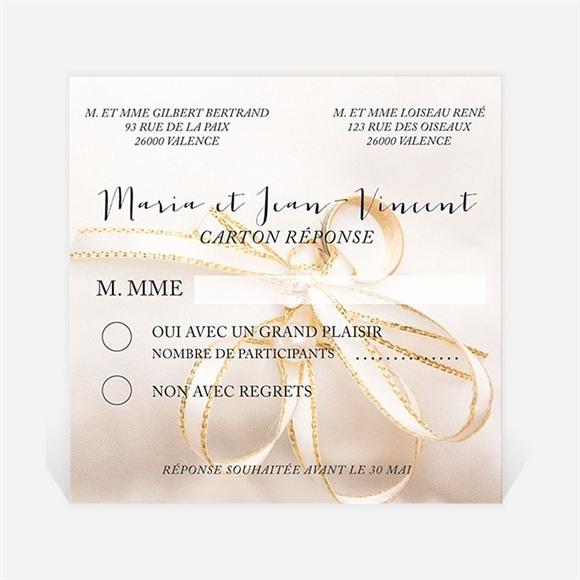 Carton réponse mariage Soie et nacré réf.N300315