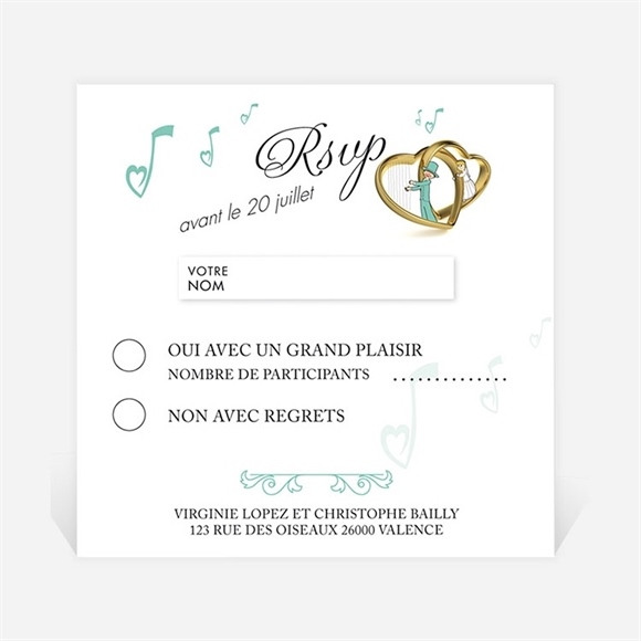 Carton réponse mariage Belle Sérénade réf.N300317