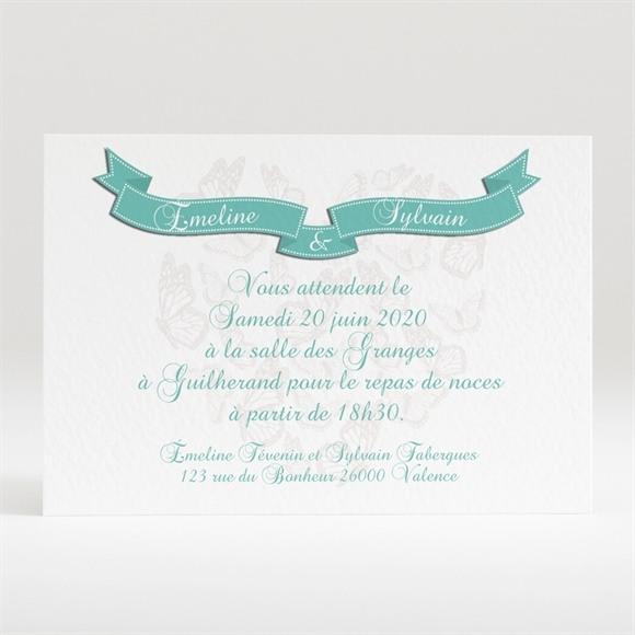 Carton d'invitation mariage Joli coeur avec banderole réf.N120258