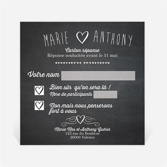 Carton réponse mariage Photomaton et ardoise réf.N300321