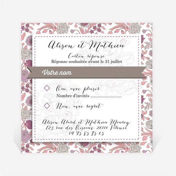 Carton réponse mariage Liberty pastel vintage réf.N300323