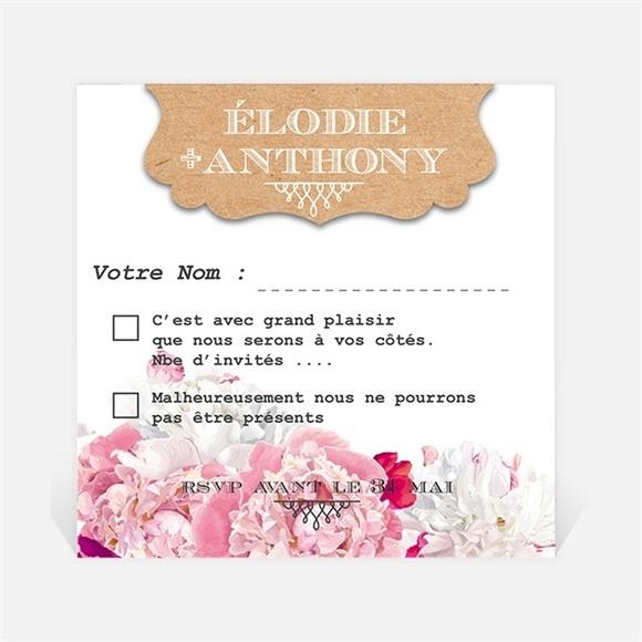 Carton réponse mariage Floral réf.N300330