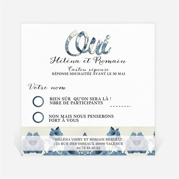 Carton réponse mariage Étiquettes trompe l'oeil réf.N300331