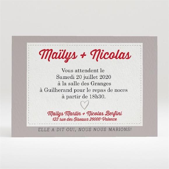 Carton d'invitation mariage Gris moderne réf.N120272