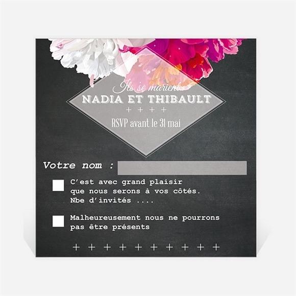 Carton réponse mariage Fleurs modernes réf.N300334