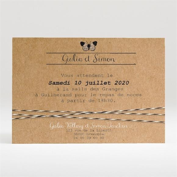 Carton d'invitation mariage Dentelle Kraft Papillon réf.N120275