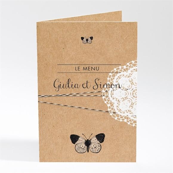 Menu mariage Dentelle Kraft Papillon réf.N401407
