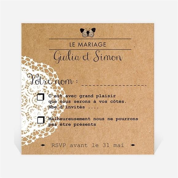 Carton réponse mariage Dentelle Kraft Papillon réf.N300335