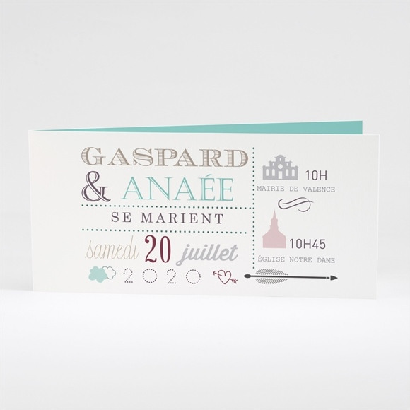 Faire-part mariage Motifs et jeu typographique réf.N43139