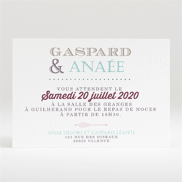 Carton d'invitation mariage Motifs et jeu typographique réf.N120276