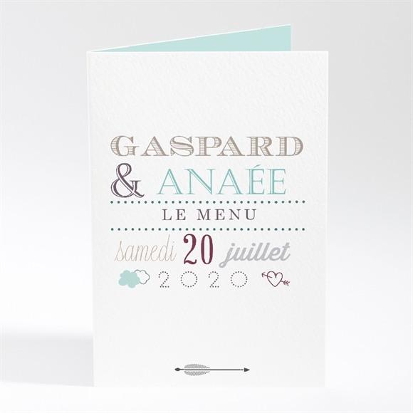 Menu mariage Motifs et jeu typographique réf.N401408