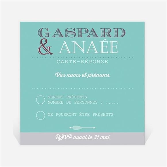 Carton réponse mariage Motifs et jeu typographique réf.N300336