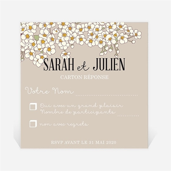 Carton réponse mariage classique sobre et simple réf.N300339