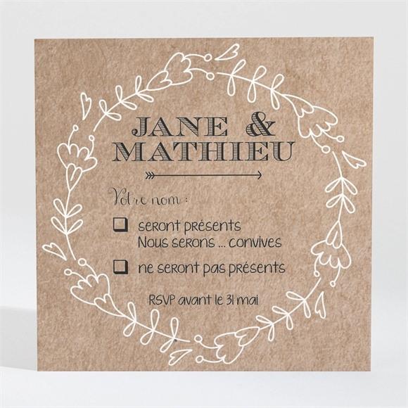 Carton réponse mariage Kraft en folie réf.N300340