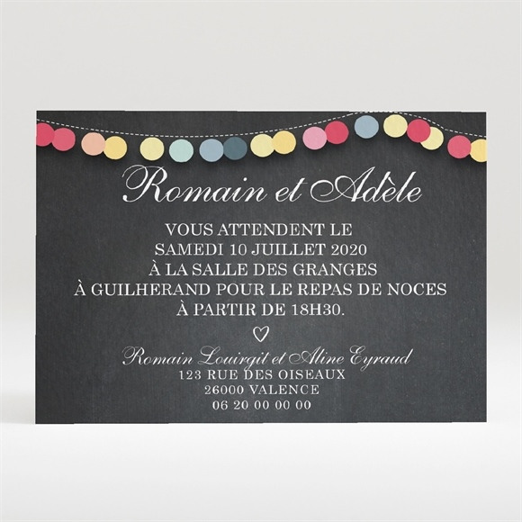 Carton d'invitation mariage Ardoise créative réf.N120287