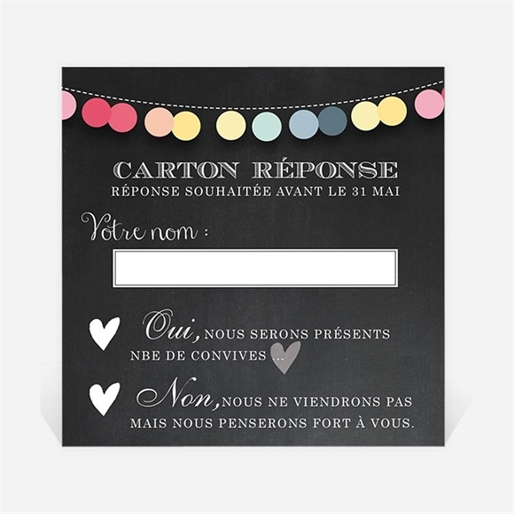 Carton réponse mariage Ardoise créative réf.N300347